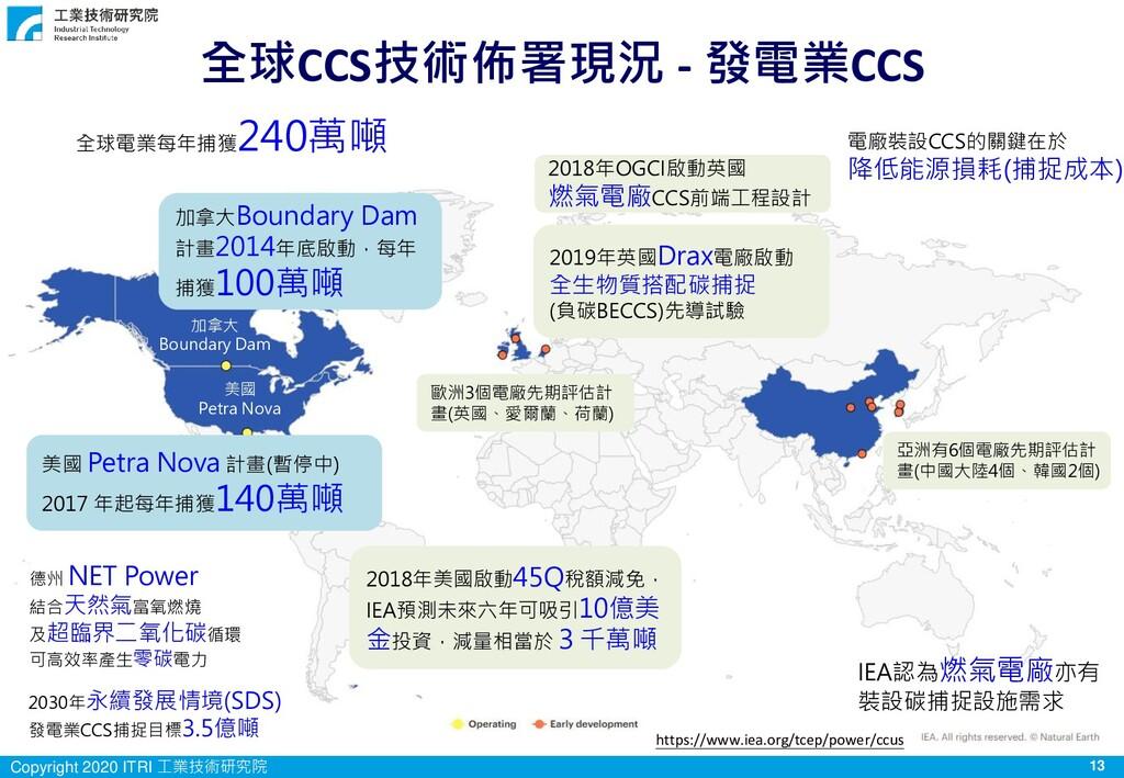 13 Copyright 2020 ITRI 工業技術研究院 全球CCS技術佈署現況 - 發電...