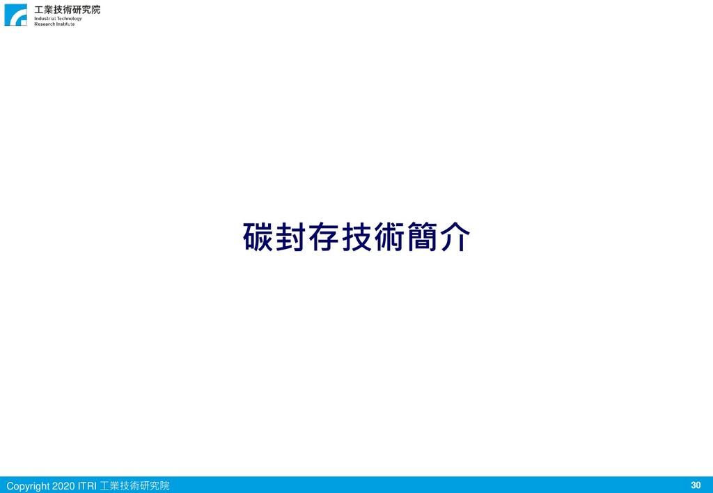 30 Copyright 2020 ITRI 工業技術研究院 碳封存技術簡介