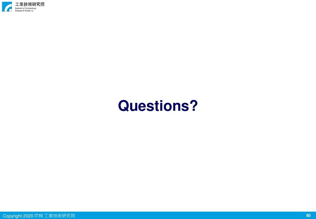 80 Copyright 2020 ITRI 工業技術研究院 Questions?