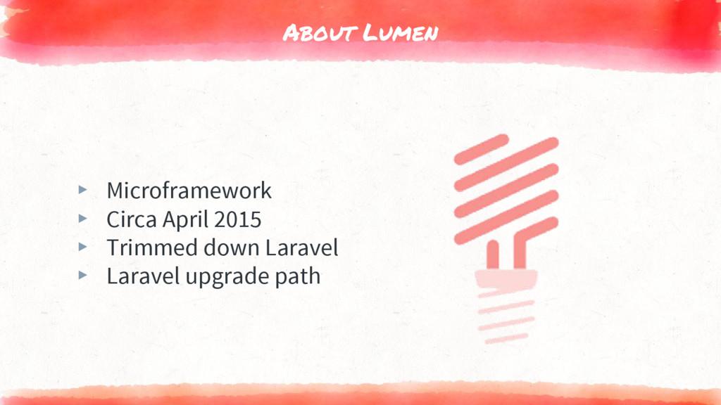 About Lumen ▸ Microframework ▸ Circa April 2015...