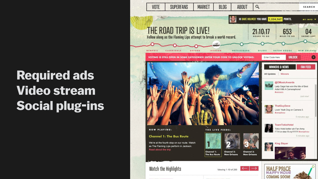 Required ads Video stream Social plug-ins