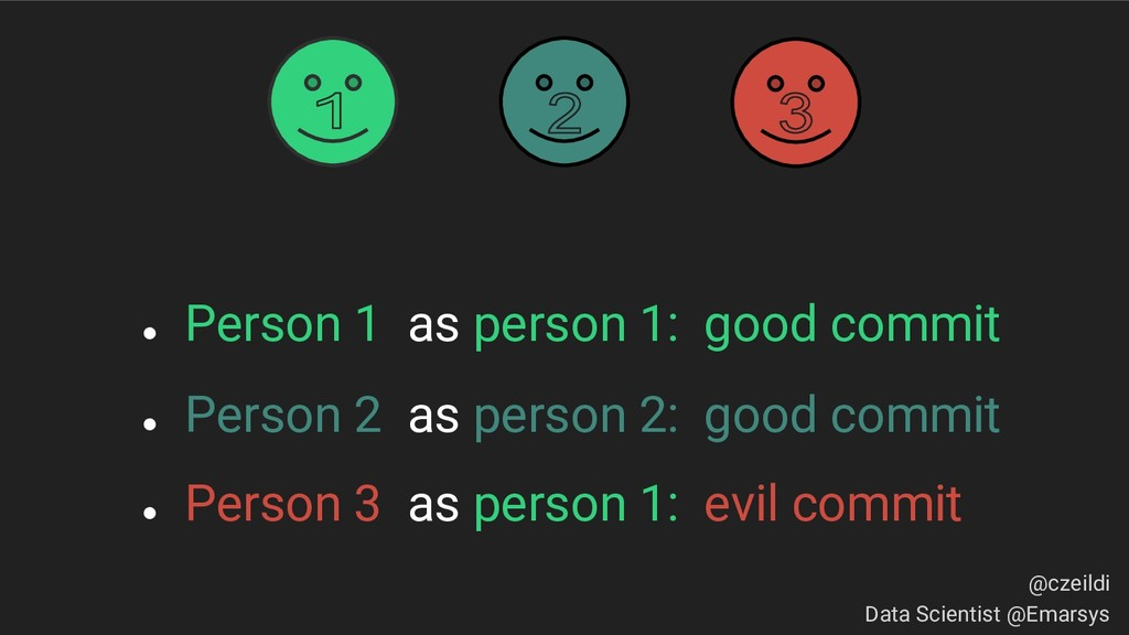 ● Person 1 as person 1: good commit ● Person 2 ...