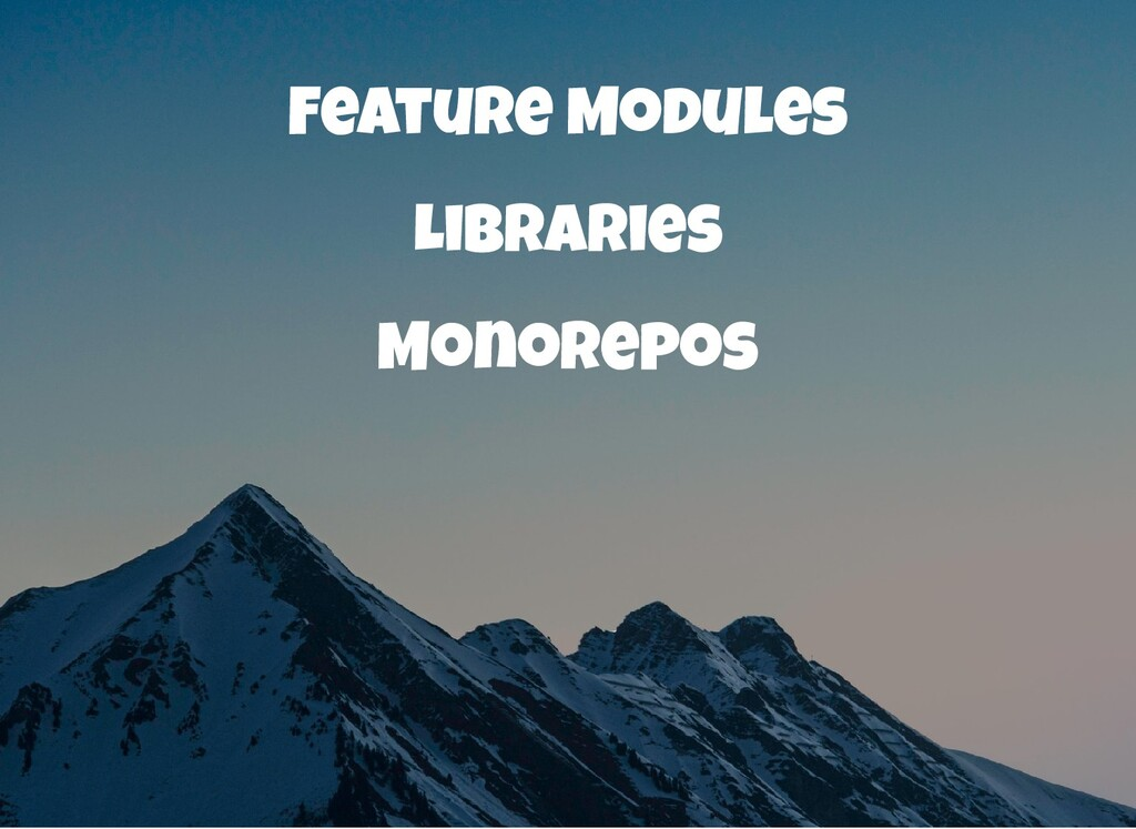 Feature Modules Libraries Monorepos