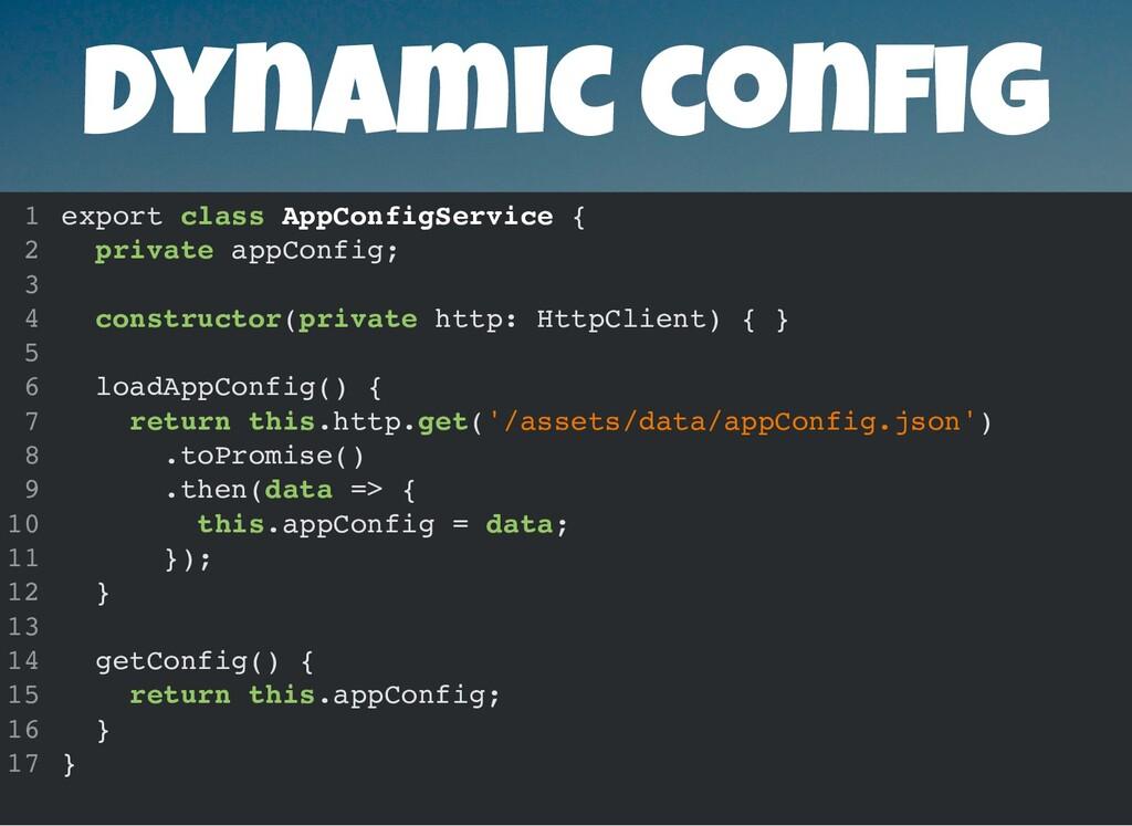 Dynamic con g export class AppConfigService { p...