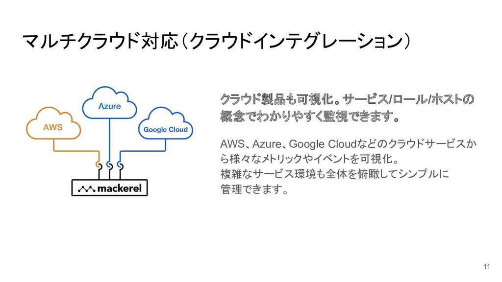 マルチクラウド対応(クラウドインテグレーション) クラウド製品も可視化。サービス/ロール/ホス...