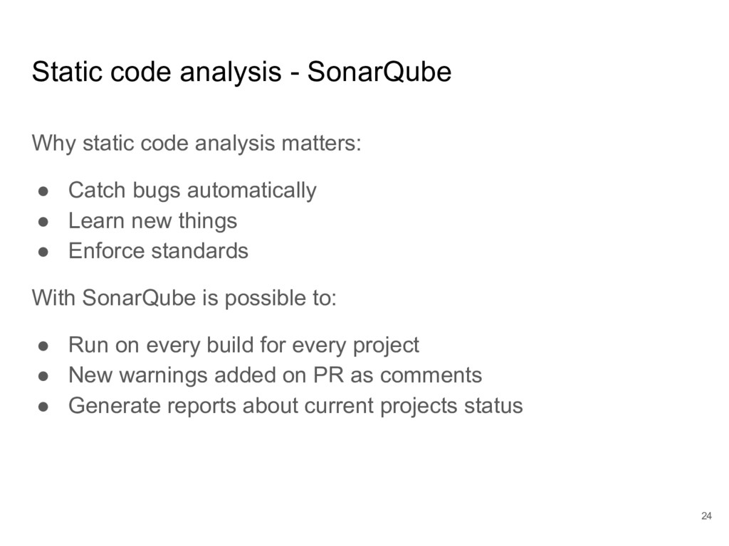 Static code analysis - SonarQube Why static cod...