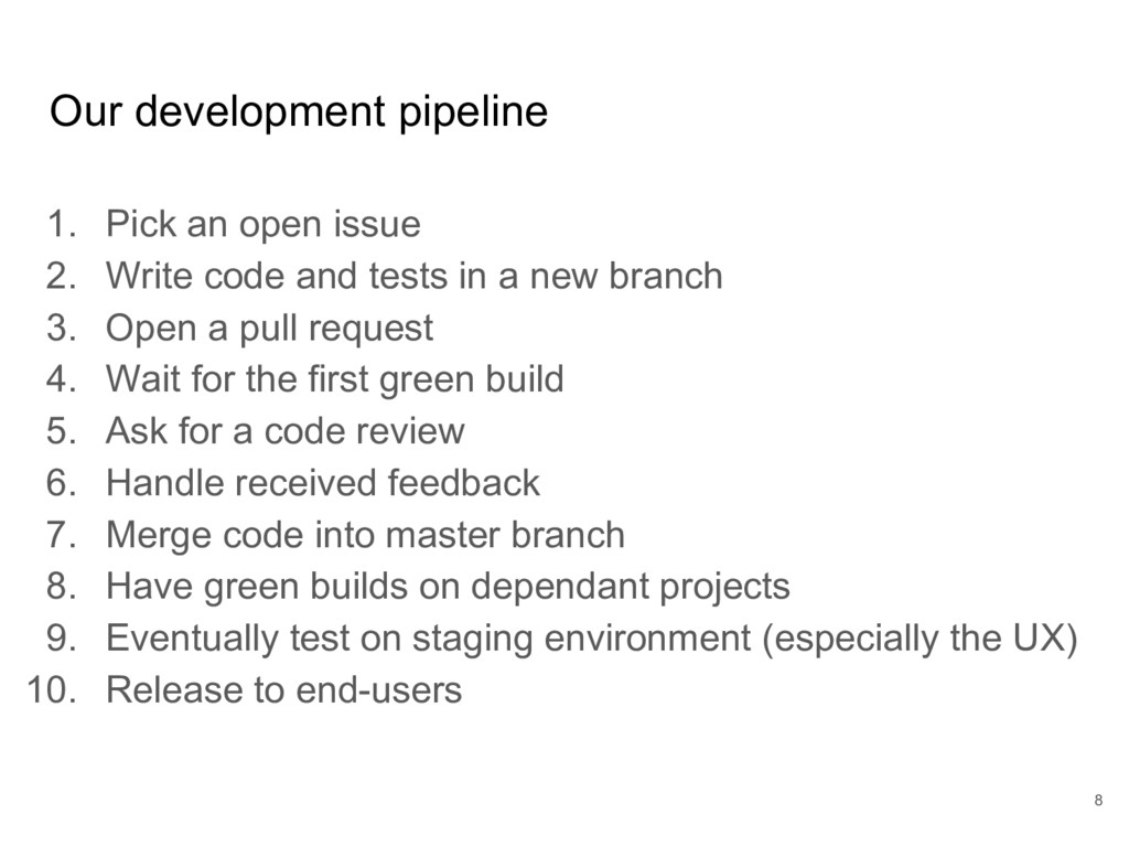 Our development pipeline 1. Pick an open issue ...
