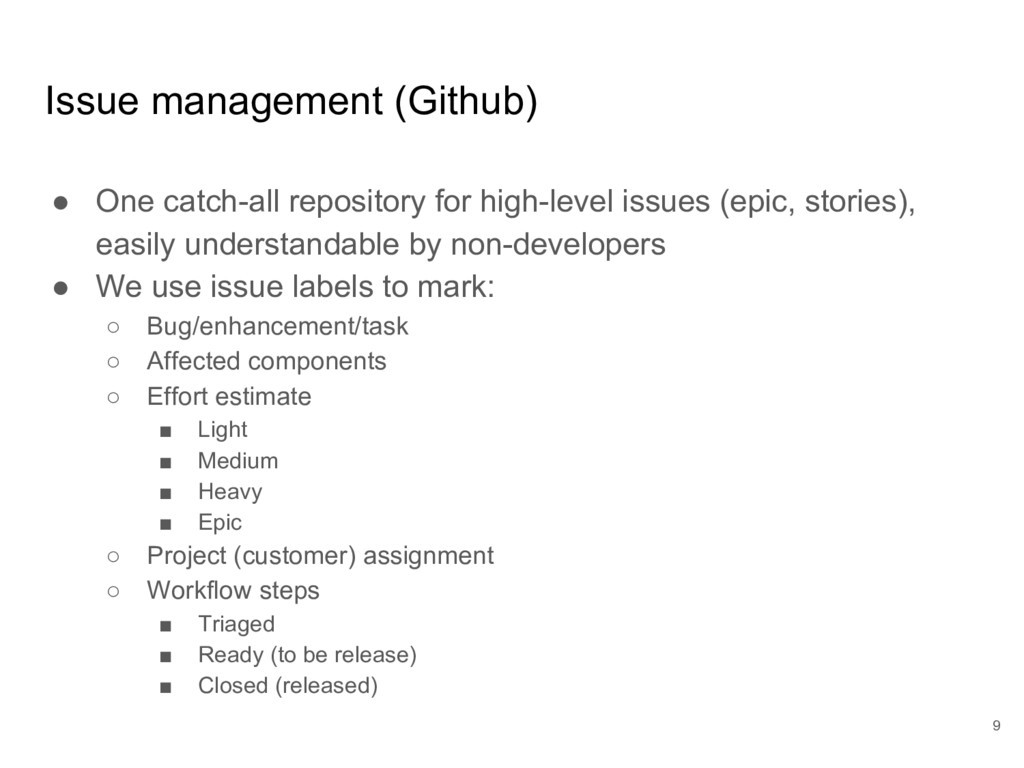 Issue management (Github) ● One catch-all repos...