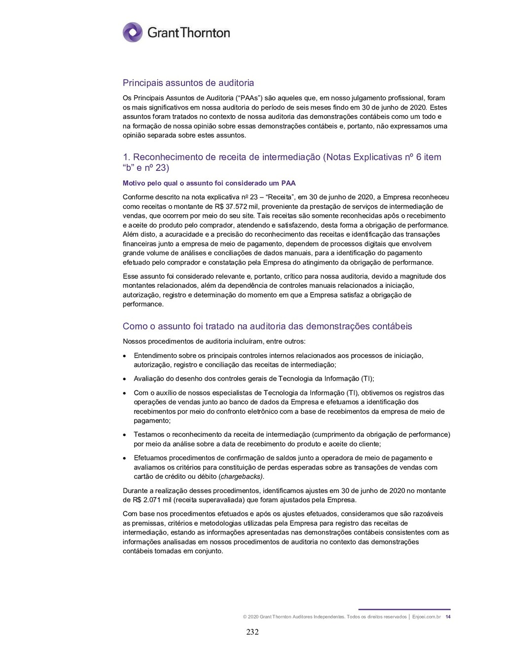 © 2020 Grant Thornton Auditores Independentes. ...
