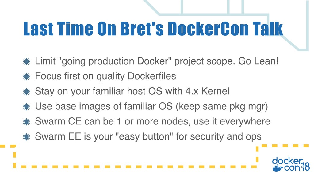 "Limit ""going production Docker"" project scope. ..."