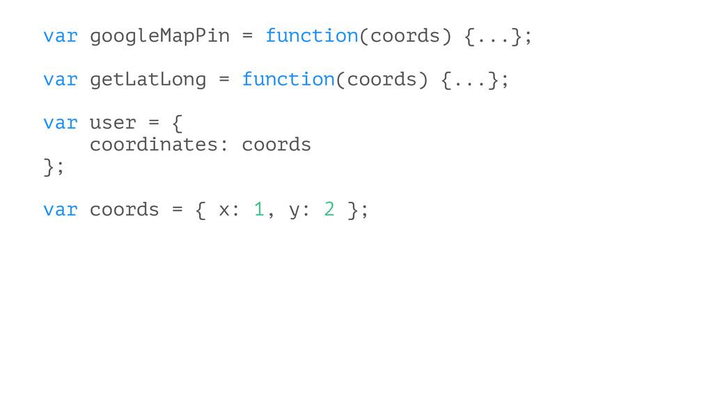 var googleMapPin = function(coords) {...}; var ...
