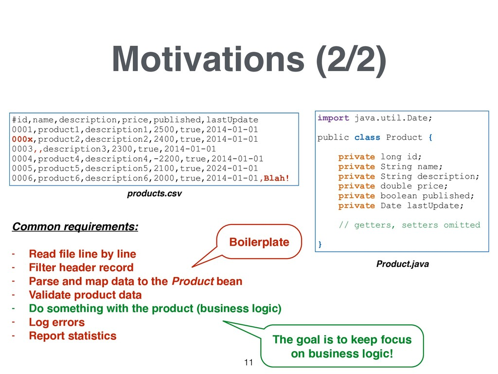Motivations (2/2) #id,name,description,price,pu...