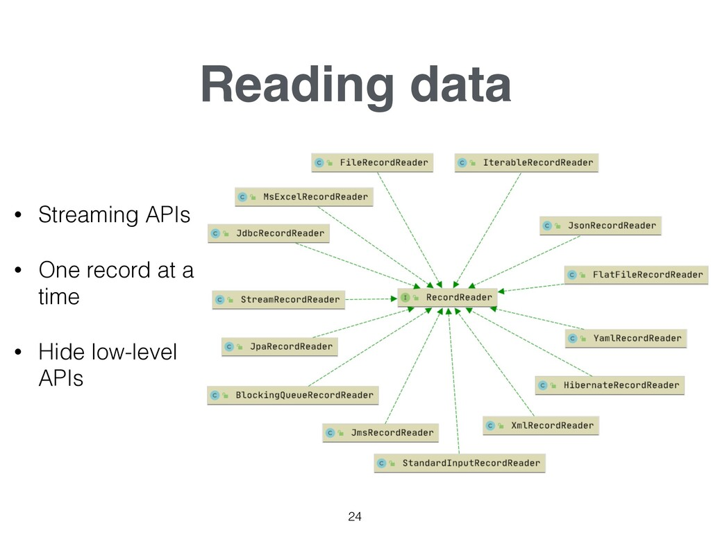 Reading data 24 • Streaming APIs • One record a...
