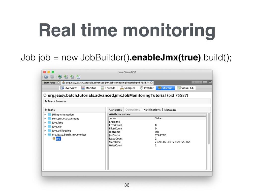 Real time monitoring 36 Job job = new JobBuilde...
