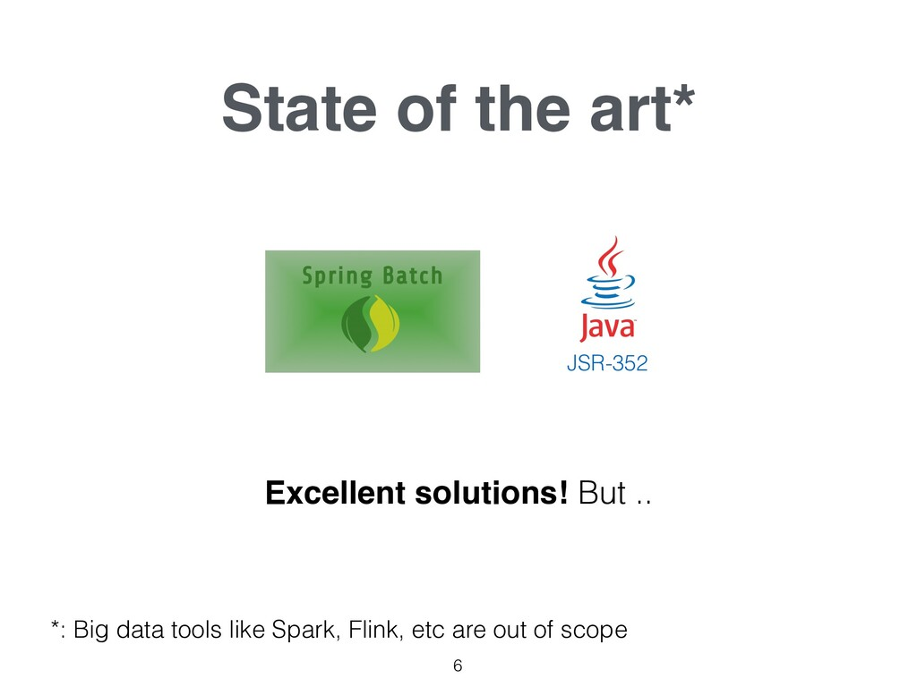 State of the art* 6 JSR-352 Excellent solutions...