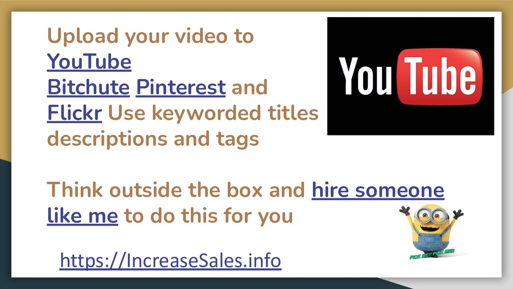 Upload your video to YouTube Bitchute Pinterest...