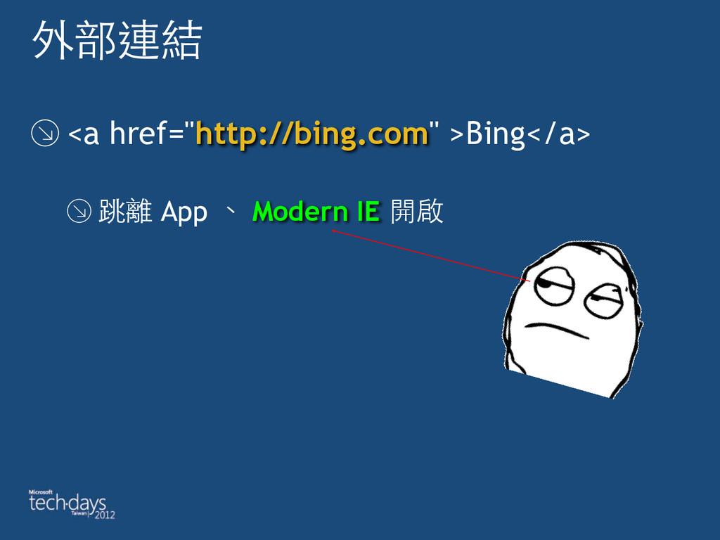 """外部連結 <a href=""""http://bing.com"""" >Bing</a> 跳離 App..."""