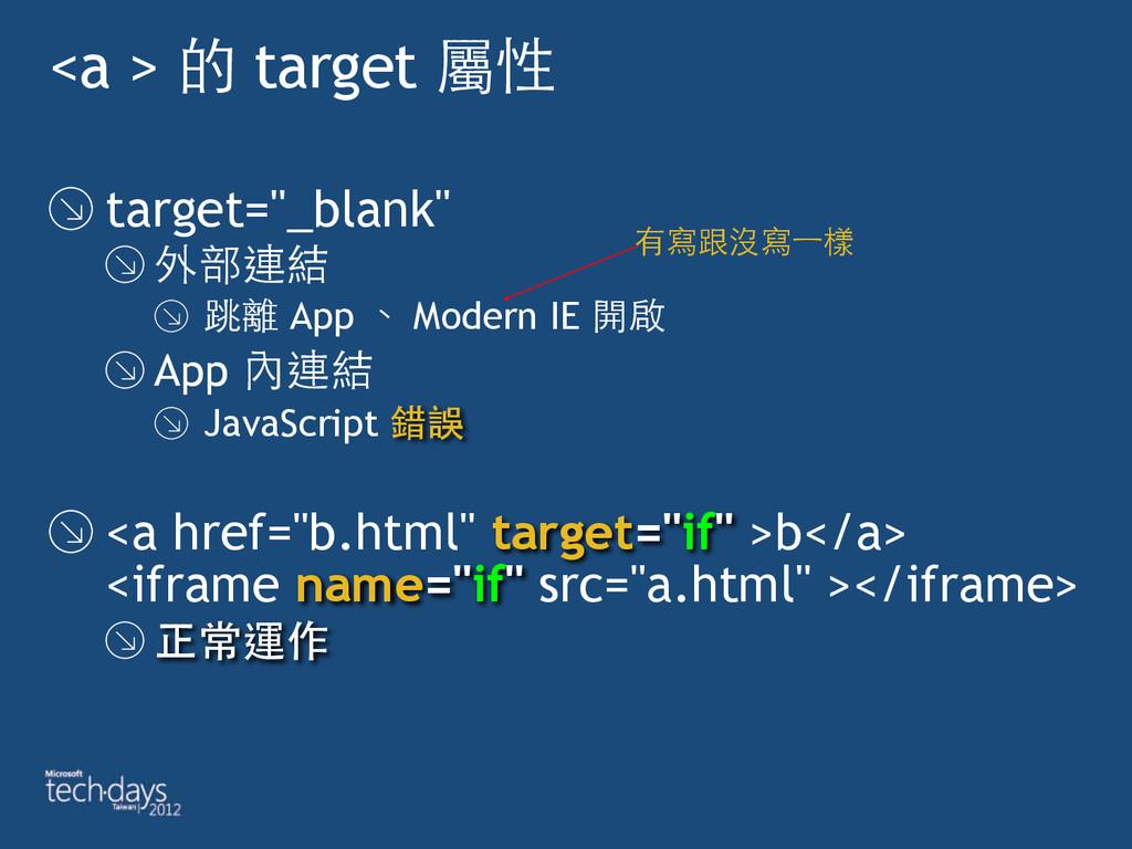 """<a > 的 target 屬性 target=""""_blank"""" 外部連結 跳離 App 、 ..."""