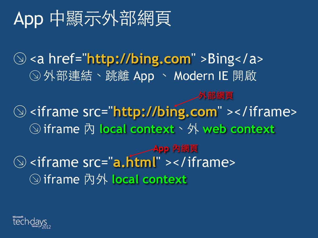 "App 中顯⽰示外部網⾴頁 <a href=""http://bing.com"" >Bing</..."