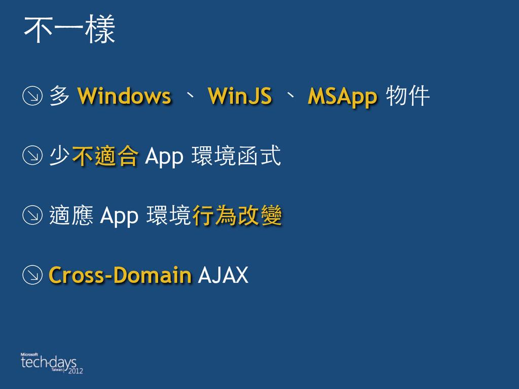 不⼀一樣 多 Windows 、 WinJS 、 MSApp 物件 少不適合 App 環境函式...