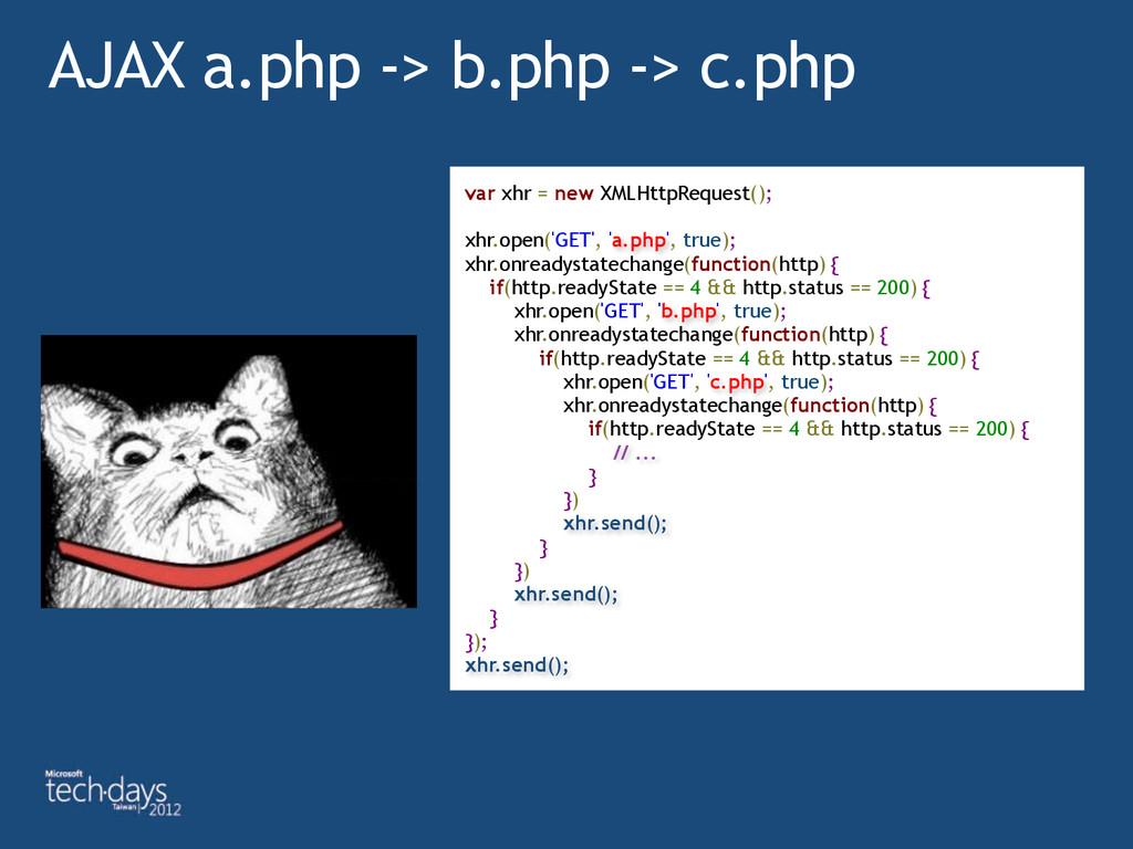 AJAX a.php -> b.php -> c.php var xhr = new XMLH...