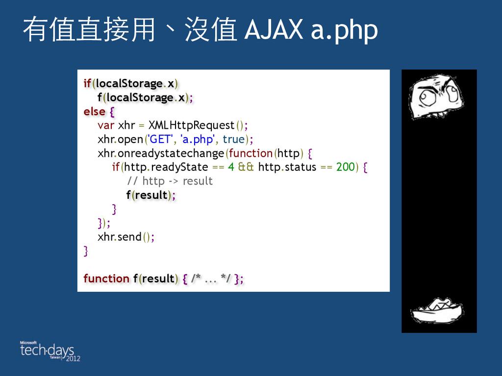 有值直接⽤用、沒值 AJAX a.php if(localStorage.x) f(loca...
