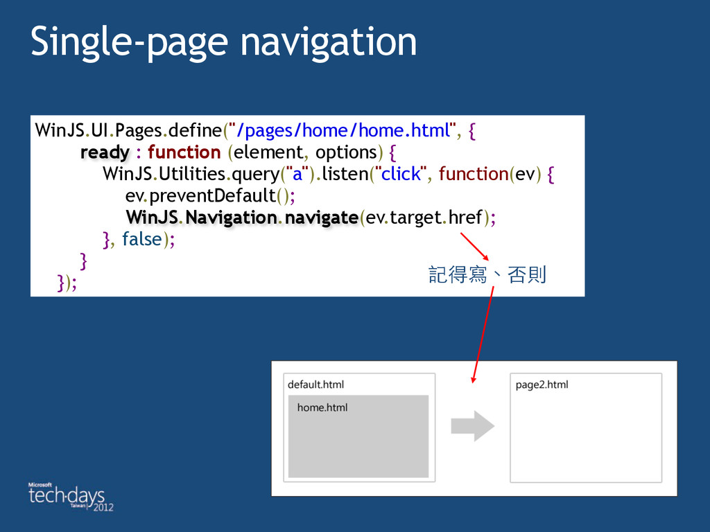 "Single-page navigation WinJS.UI.Pages.define(""/..."
