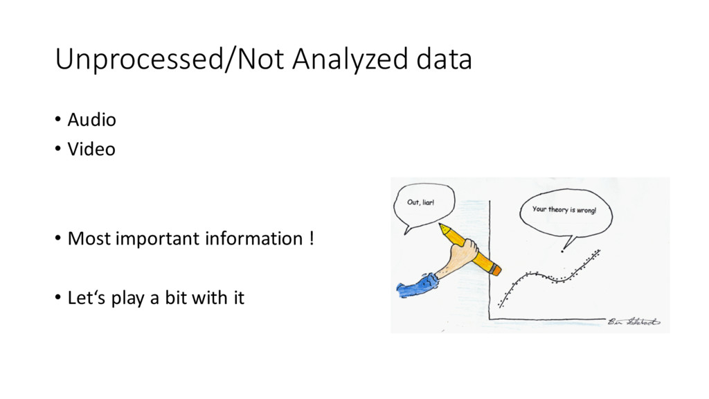 Unprocessed/Not Analyzed data • Audio • Vide...