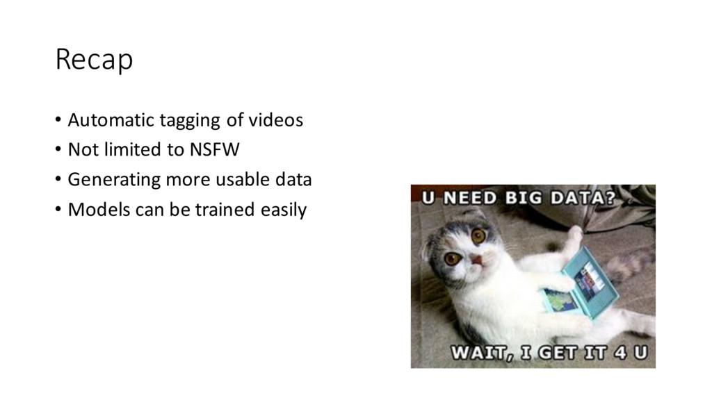 Recap • Automatic tagging of videos • Not li...