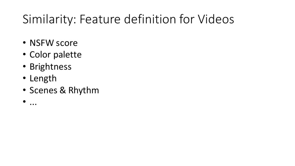 Similarity: Feature definition for Videos...