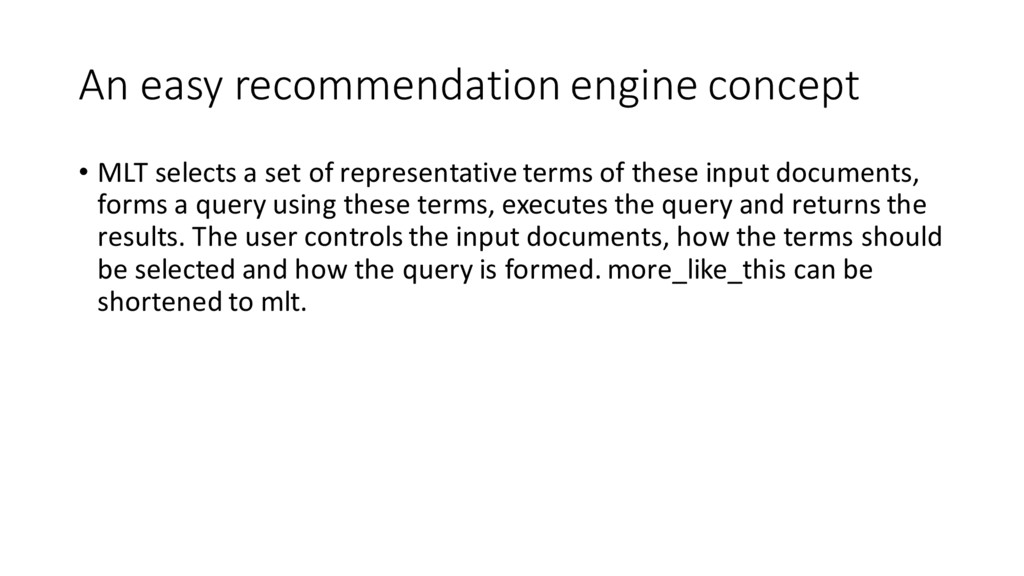 An easy recommendation engine concept • M...