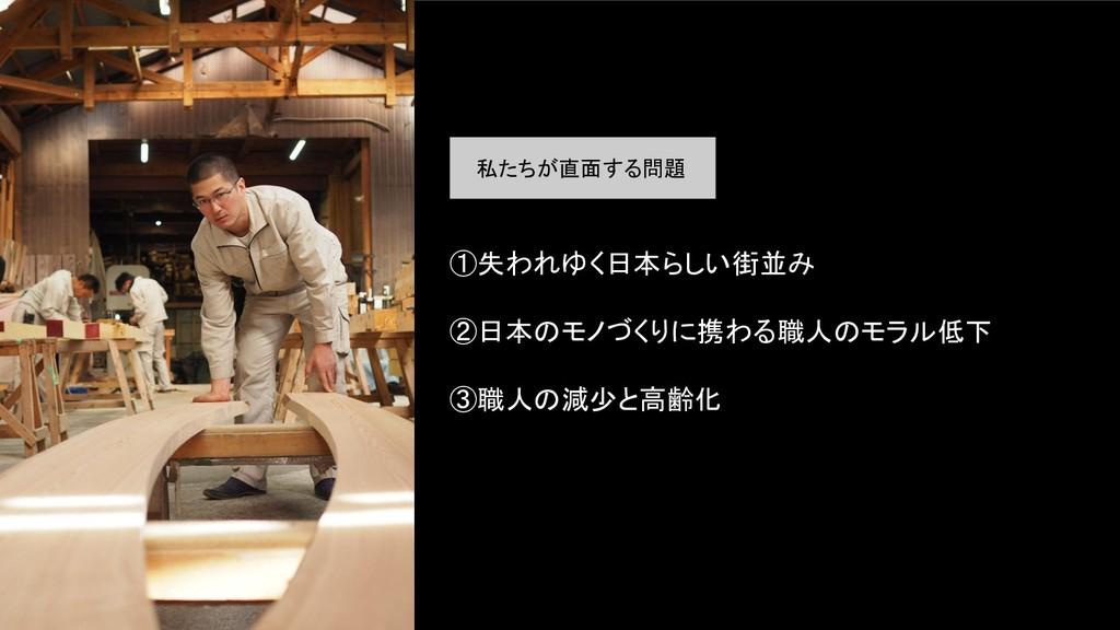 ①失われゆく日本らしい街並み  ②日本のモノづくりに携わる職人のモラル低下  ③職人の...