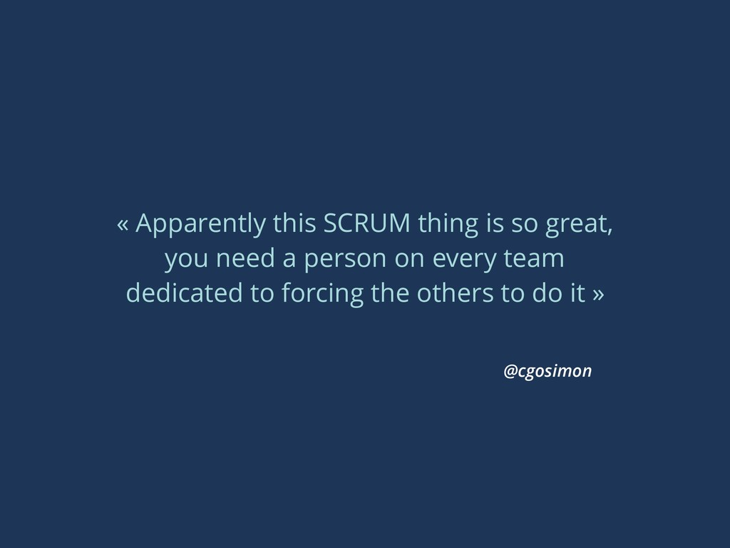 « Apparently this SCRUM thing is so great, you ...