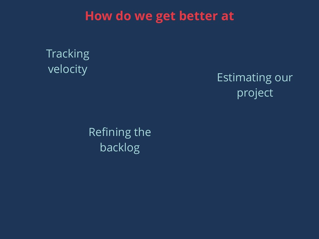 Tracking velocity Estimating our project How do...