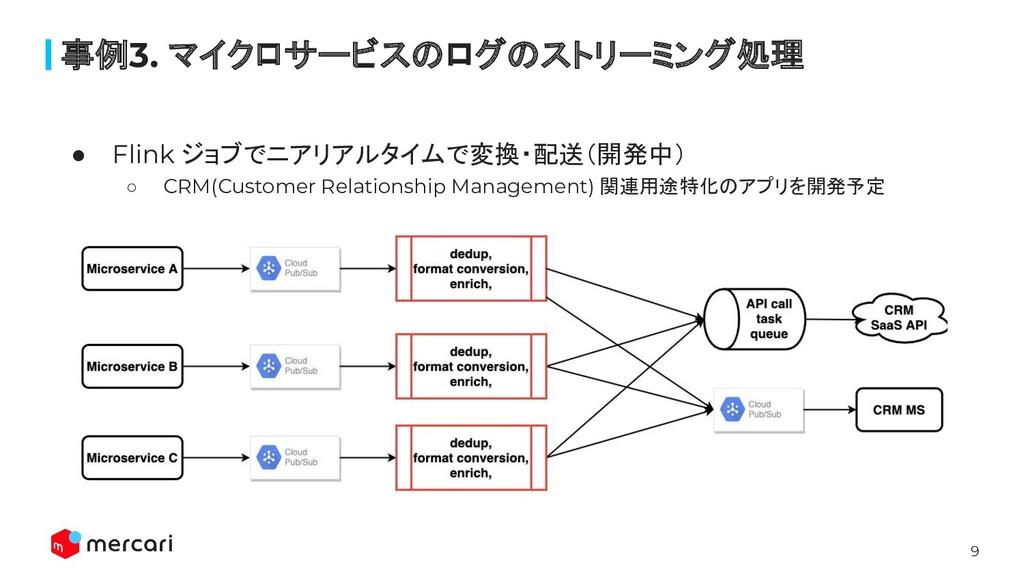 9 ● Flink ジョブでニアリアルタイムで変換・配送(開発中) ○ CRM(Custome...