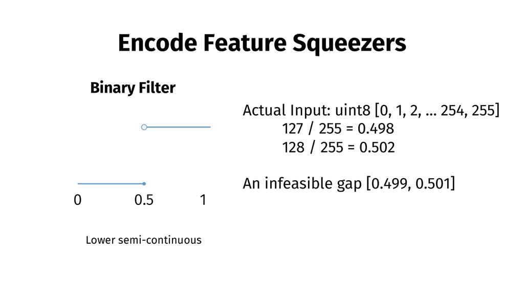 Encode Feature Squeezers Binary Filter 0.5 1 0 ...