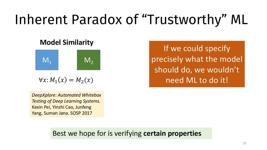 "Inherent Paradox of ""Trustworthy"" ML 21 If we c..."