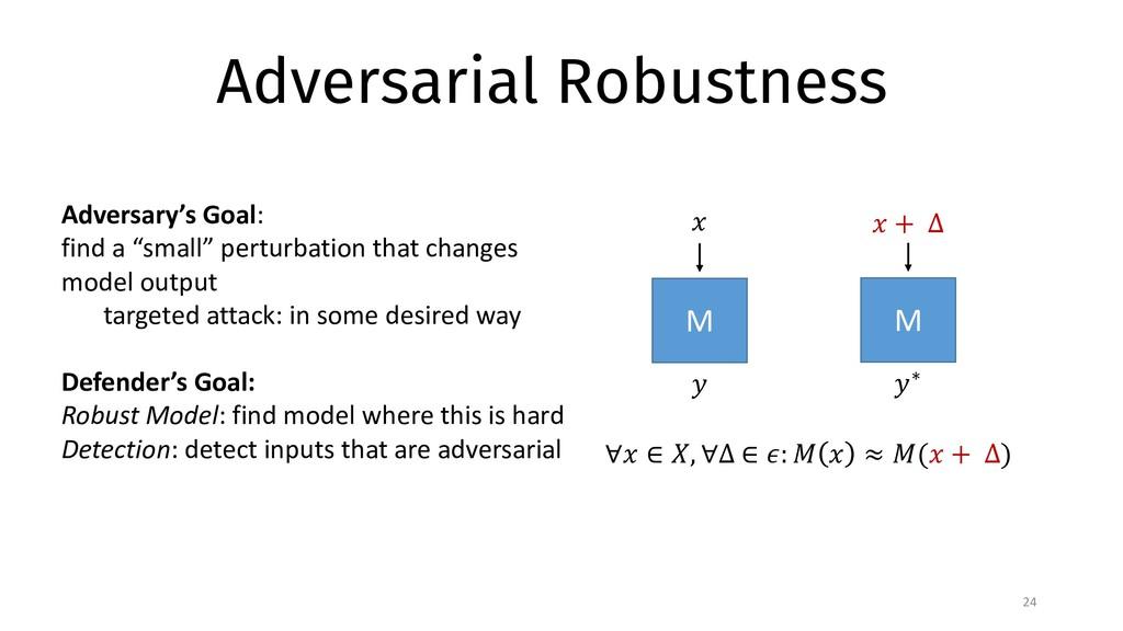 """Adversarial Robustness 24 M ∀"""" ∈ $, ∀∆ ∈ ': ) """"..."""