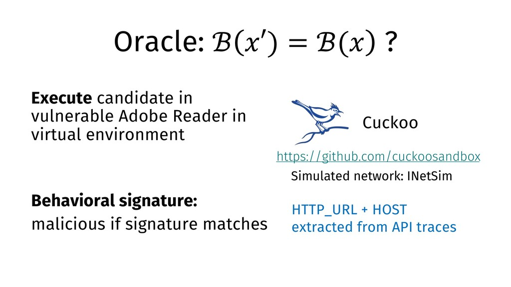 """Oracle: ℬ """"′) = ℬ("""" ? Execute candidate in vuln..."""