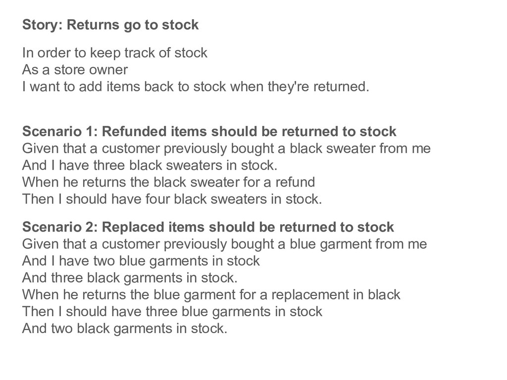 Story: Returns go to stock In order to keep tra...