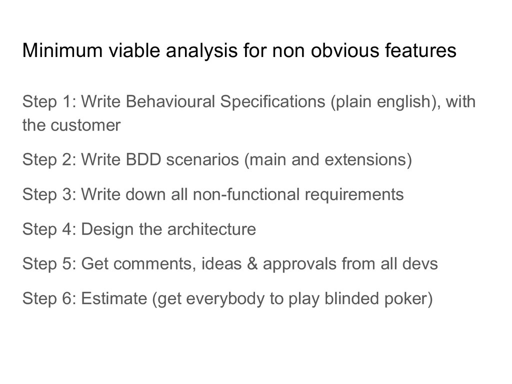 Minimum viable analysis for non obvious feature...