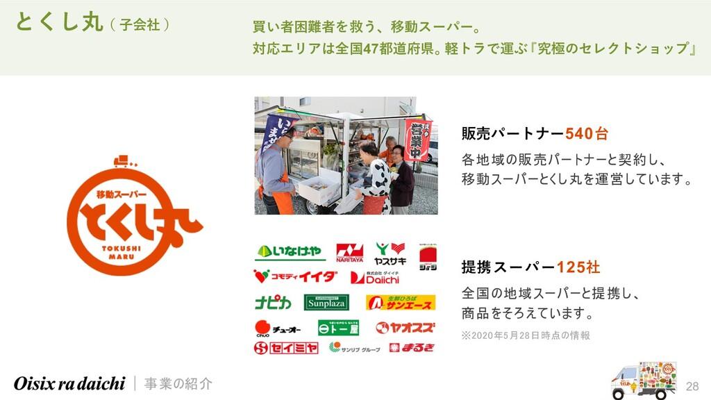 28 とくし丸( ⼦会社 ) 買い者困難者を救う、移動スーパー。 対応エリアは全国47都道府県...