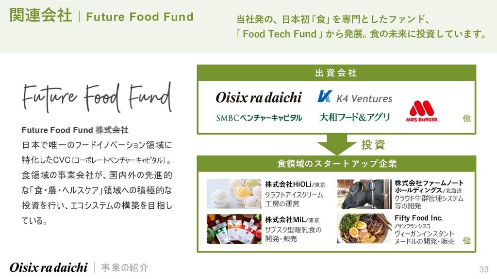 33 関連会社   Future Food Fund Future Food Fund 株式会...