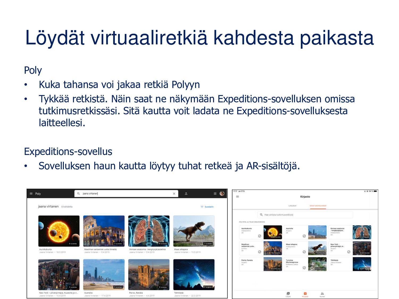 Poly: virtuaaliretken etsiminen Sivupalkista vo...
