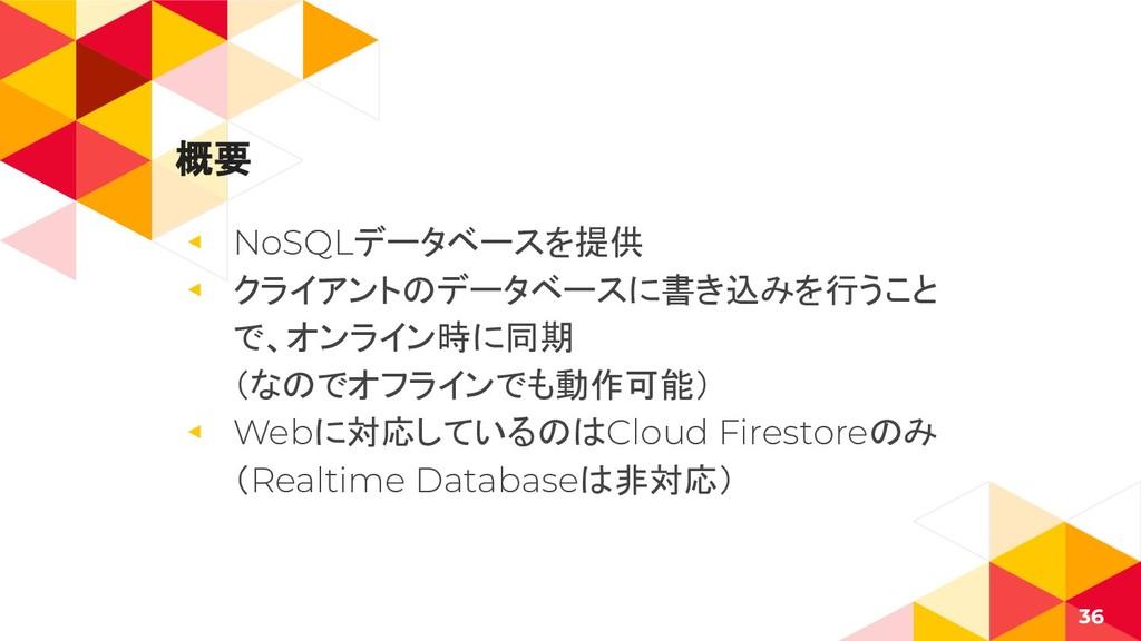 概要 ◂ NoSQLデータベースを提供 ◂ クライアントのデータベースに書き込みを行うこと で...