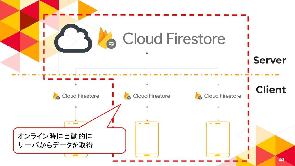 41 Server Client オンライン時に自動的に サーバからデータを取得