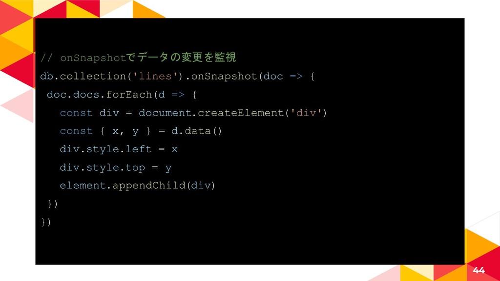 // onSnapshotでデータの変更を監視 db.collection('lines')....