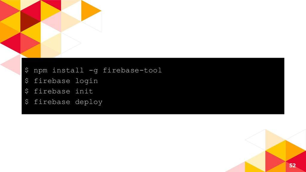 $ npm install -g firebase-tool $ firebase login...