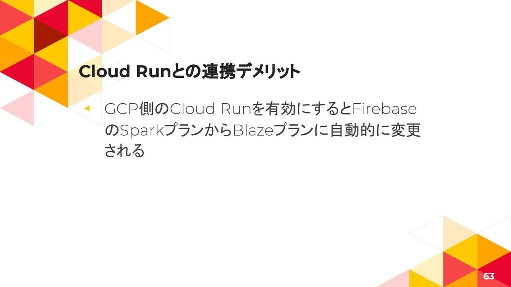Cloud Runとの連携デメリット ◂ GCP側のCloud Runを有効にするとFireb...