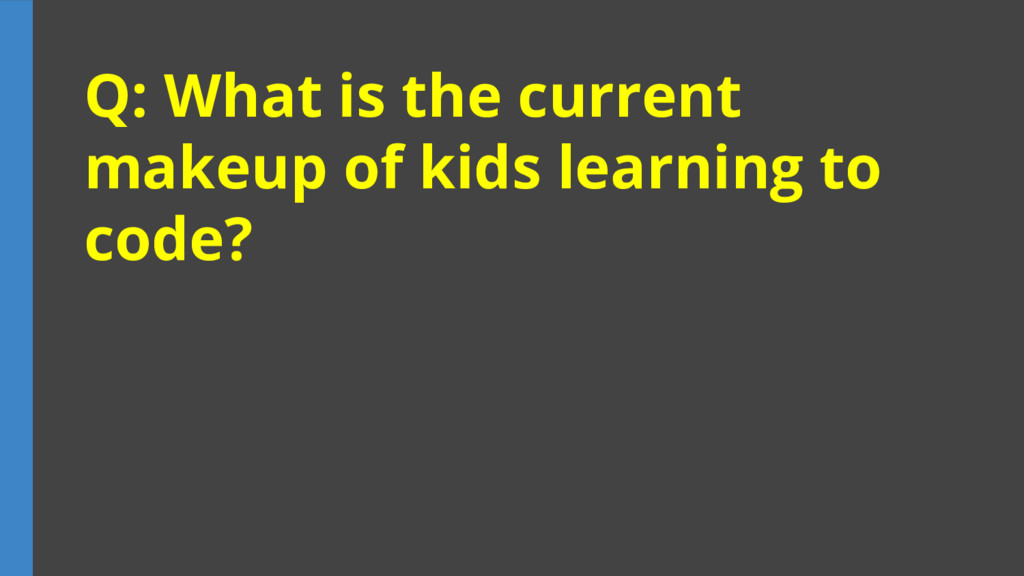 Q: What is the current makeup of kids learning ...